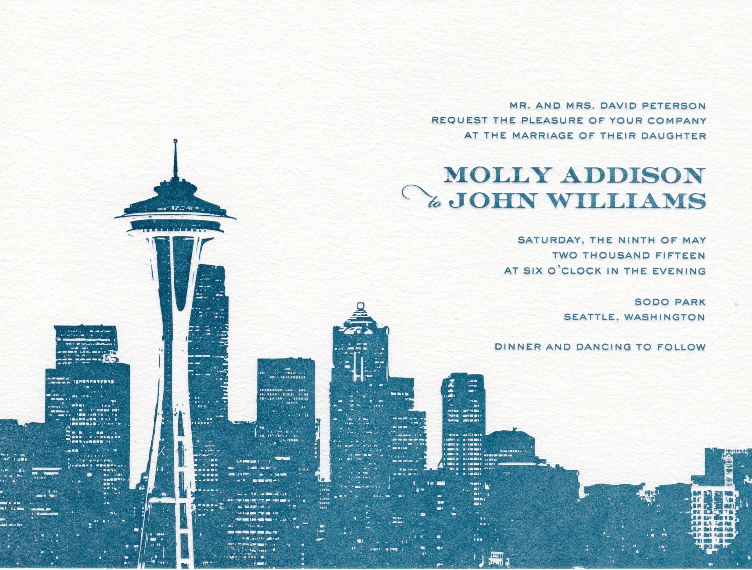 Bella Figura introduces a new Seattle cityscape invitation at